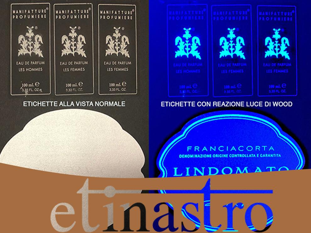 Etichette luminose alla luce di Wood by Etinastro
